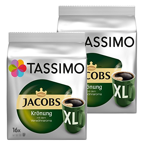 Tassimo Jacobs Krönung XL, Kaffee, Arabica, Kaffeekapsel, gemahlener Röstkaffee, 2er Pack, 2 x 16 T-Discs