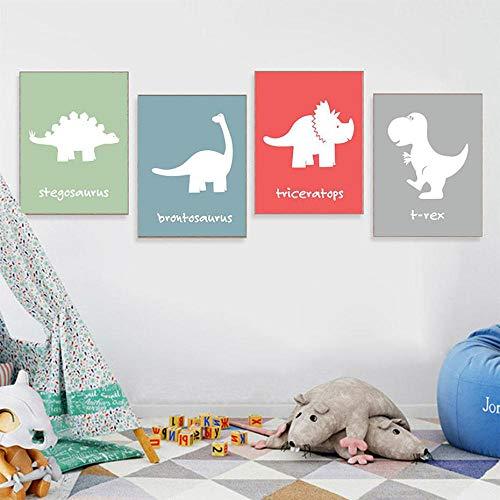ZGZART Minimalismo nórdico Foto de Animales de Dibujos Animados Rojo Verde Gris Fondo Dinosaurio Lienzo Pintura póster Pared Arte decoración para Sala de estar-30x40cmx4 (sin Marco)