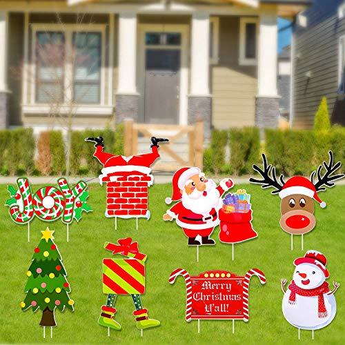 JoyTplay Weihnachten Gartenstecker Dekoration Weihnachten Gartenschilder Deko Yard Schilder & Pfähle Draussen Gartendekoration Christmas Outdoor Decoration
