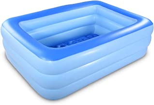 HIWENA Inflatable Family Swim Center Pool, 82 inches Gaint Blow Up Pool Summer Water Fun with Inflatable Soft Floor for Family, Garden, Outdoor, Backyard (82IN Blue)
