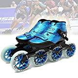 LLKK Inline Roller Skates - Men Women Lightweight Carbon Fiber Thermoplastic Breathable Racing Skates 4 Wheels High Elastic Wear Pu Wheel Space Leather Outdoor Indoor Speed Skating Shoes