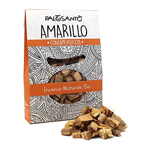 Incenso in grani Palo Santo Amarillo - Fumigazione di incenso Naturale per braciere e carboncini - Aroma per Profumare la casa, l'anima, l'ambiente - Confezione da 80 gr