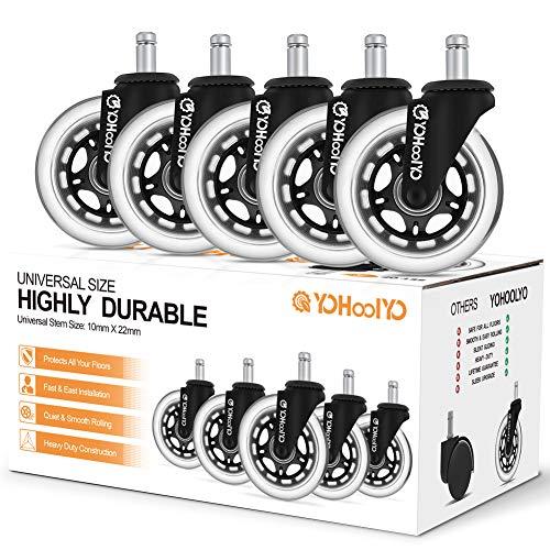 YOHOOLYO 5PCS roulettes Chaise Bureau 10mm x 22mm Roulement Silencieux Résistantes à l'abrasion