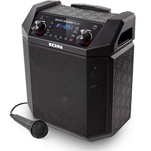 ION Audio Block Rocker Plus - Portable Bluetooth Speaker 100W w/ Battery, Karaoke Microphone, AM FM Radio, Wheels & Telescopic Handle and USB Charging