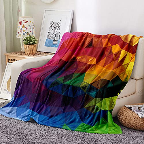 Geometría Manta de Tiro Impresa Color 3D Manta para niños Adultos Mantas de Lana con Franela Ligera Manta para sofá de Cama y Viaje 100x130cm