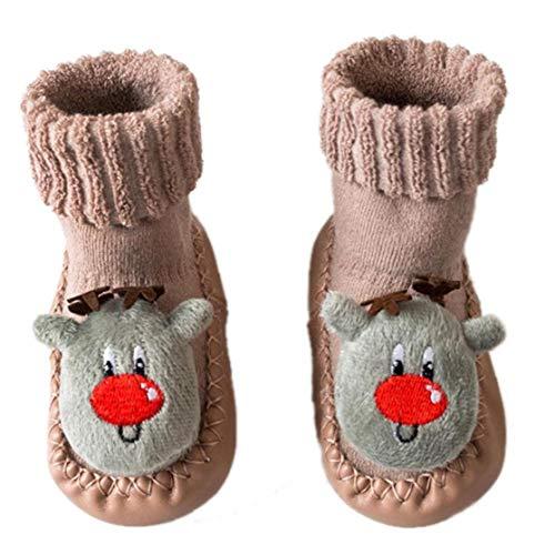 1pair Calcetines del Bebé De Los Zapatos De Cuero Antideslizante del Calcetín del Deslizador De Los Cargadores Calcetines De La Historieta para Los Niños Pequeños para Niños Recién Nacidos