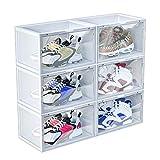 MEICHEPRO シューズボックス 透明 6個セット シューズラック シューズケース 組み合わせ自由 組立て式 スニーカー 収納ボックス 磁石開閉式 積み重ね可能 玄関収納 靴箱 (透明 6個)