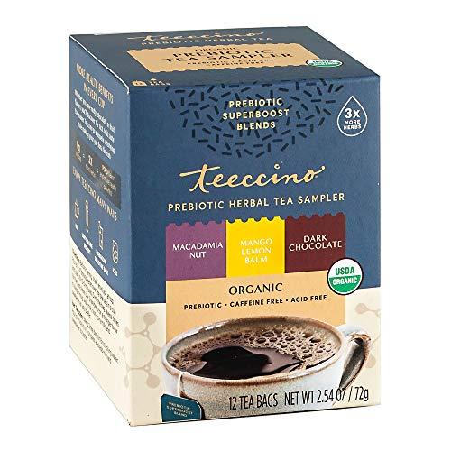 Teeccino Prebiotic Herbal Tea – Prebiotic SuperBoost Tea Sampler – Support Your Probiotics with Vegan GOS & Organic XOS For Good Gut Health and Regularity, 12 Tea Bags