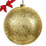 BELLE VOUS Bolas de Navidad - Bola Dorada de Plástico Grande 19,5 cm con Cuerda Adornos Navideños - Decoración Colgante para Árbol de Navidad - Decoraciones de Navidad Interior Exterior Vintage