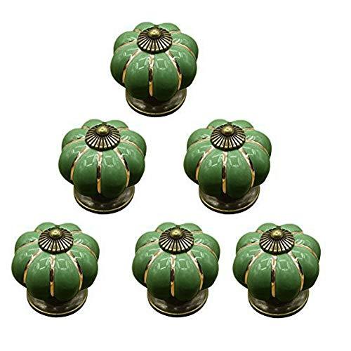 ikulilky 6pieza de lectura Tiradores botón Möbelgriff Botones Vino calabaza puerta cerámica porcelana flor Pomo Cajón Armario Armario Puerta único agujero Puerta asas, verde, talla única