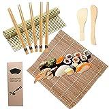 Bambusmatte Sushi Sushi Matte Easy Sushi Maker Set Sushi Selbst Machen Set Anfänger DIY Bambus Rollmatte für Sushi (2 Sushi Mat, 1 Rice Paddle, 1 Rice Shaker, 5 Stäbchen)