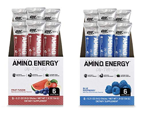 Optimum Nutrition Amino Energy Multipack - Pre Workout with Green Tea, BCAA, Amino Acids, Keto Friendly, Green Coffee Extract, Energy Powder - Fruit Fusion and Blue Raspberry (12 Count, 6 per Flavor)