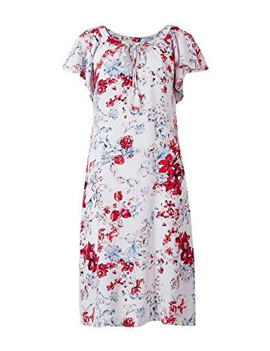 Marks and Spencer M&S Collection M&S Robe mi-longue à manches volantées Motif floral - Rouge - 38