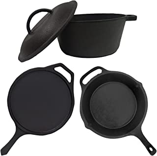 70's Kitchen Pre-Seasoned Cast Iron Cookware Pot pan Combo Set - Single Handle tawa (10Inch) Skillet (10Inch) & Dutch oven...