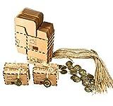 RYMALL Set de 50 Cajas para dulces bombones Caja kraft de boda regalo Rústico,novio y de la novia Candy Caja Papel Boda Regalos Cajas de caramelo de Fiesta envoltorio