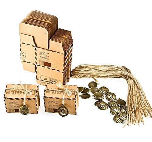 Foonii 50pcs Bomboniere Vintage Carta Kraft Candy scatole Confetti, Caramelle, cioccolatini, Gioielli e Regali Piccoli, ECC