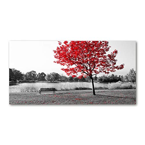 Tulup Impresión en Vidrio - 140x70cm - Cuadro Pintura en Vidrio - Cuadro en Vidrio Cristal Impresiones - Paisaje - Rojo - Árbol Rojo