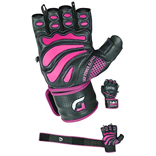 Women Elite Leather Gym Gloves with Built in 2' Wide Wrist Wraps Design for Weight Lifting, Power Lifting, Bodybuilding & Strength Training Workout Exercises (Pink, Small)