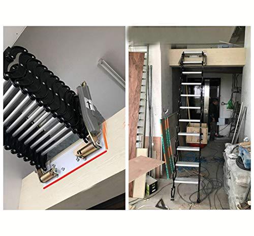 Aluminium Dachbodenleiter unsichtbare Falttreppe Multifunktions-Dachbodenleiter 1M-3M benutzerdefinierte (Carbon steel)