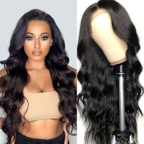 Lace Closure Wigs, Body Wave Human Hair Lace Front Wigs, With Baby Hair 150% Density Body Wave Wigs, For Black Women Natural Color, (20inch, 4x4 body Wave)