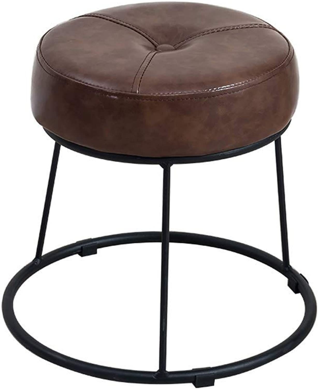 Round Stool, Sponge Cushion, Creative Seat Bench, Bedroom Dressing Table, Makeup Chair, Living Room, Brown (31.5cm × 36.5cm) (Size   31.5cm×36.5cm)