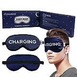 Sleep Mask for Women Men Adjustable Silk Eye Mask Funny Blackout Night Blindfold for Sleeping Aid, Travel, Naps, Blocks Light (Navy Blue)