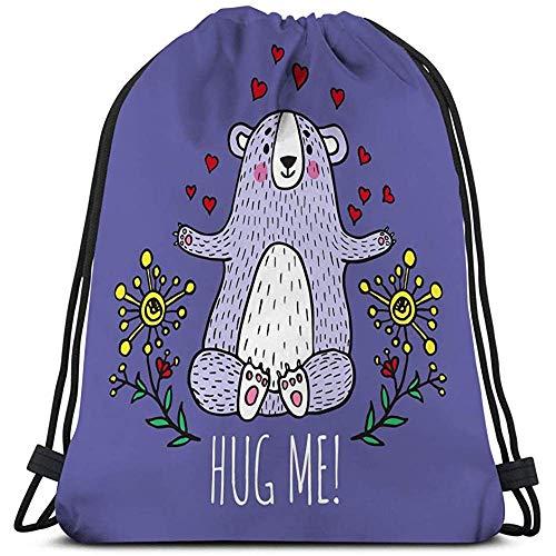 Trekkoord Rugzak Sport Gym Bag Voor Vrouwen Mannen knuffel me kaart teddybeer geïllustreerd watermerk