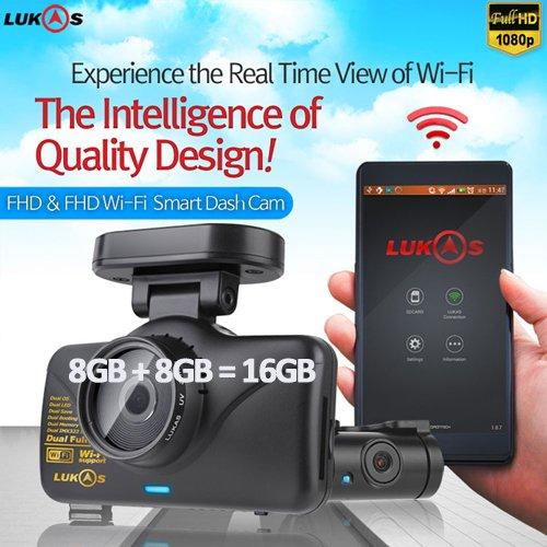 Lukas Lk-7950 WD FHD & FHD Wi-Fi Smart 2ch Dash Cam with GPS (8GB+8GB=16GB)