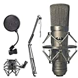 CAD Audio GXL-2200 Cardioid Condenser Microphone + On Stage ASVS4B 4-Inch Pop Filter + On Stage MBS5000 Broadcast/Webcast Boom Arm with XLR Cable