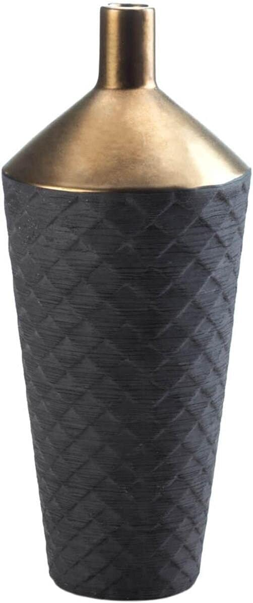 Nikki Chu Free shipping / New Home gift Lucca Black Gold Vase Porcelain and