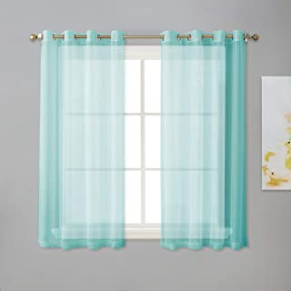 NICETOWN Grommet Sheer Curtain Panels - Short Voile Window Curtains 45 inches Long for Nursery/Kids Room/Kitchen/Bedroom (54 inches Wide, Pool Blue, Set of 2)