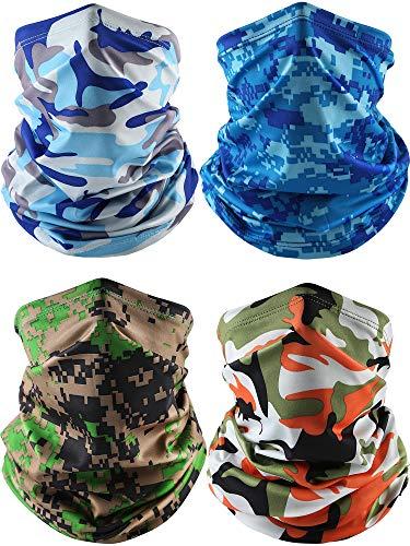 4 Pieces Summer Face Cover Scarf Neck Gaiter Cooling Sunblock Bandana (Camo Blue, Camo Sky Blue, Camo Green, Camo Orange)