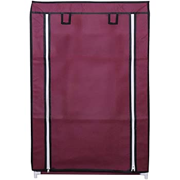 RMA HANDICRAFTS Shoe Rack with Cover 4 Layer (Maroon)