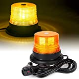 Xprite Amber LED Beacon Strobe Light, Forklift Rooftop Warning Flashing Caution Lights w/ Magnetic Base for Construction Vehicles, TowTrucks, Security Patrol, Postal, Golf Carts, UTV ATV, Snow Plows
