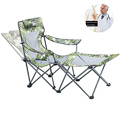 Outdoor Recliner Chair with Footrest Mesh Oversized Camping Chair for Fishing Portable Folding Lounge Office Chair with Pillow Cup Holder 300lbs Weight Capacity Green