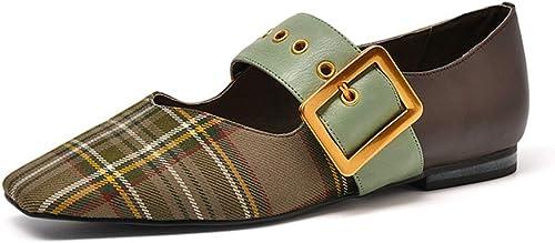 LEFT&RIGHT Chaussures Plates Femmes rétro Mary Jane Chaussures Décontracté Cuir Confortable Boucle Chaussures Femmes Les Les dames Chaussures Décontracté