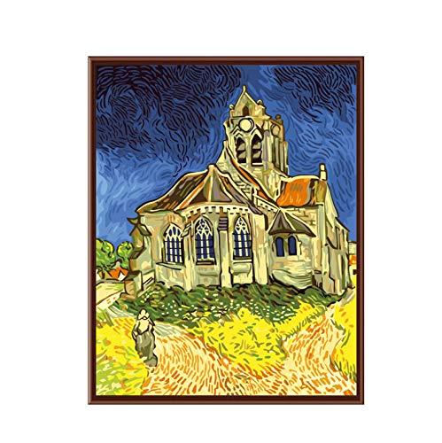 Digitaal olieverfschilderij decoratieve foto's gekleurde tekening schilderen op nummer volwassen kinderen oefenen schilderen rode kerk Frameloze