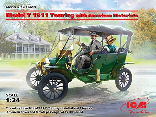 ICM 1/24 Scale Model T 1911 Touring with American Motorists - Plastic Model Building Kit # 24025