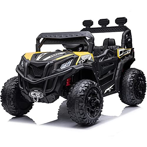sopbost Kids Buggy 4x4 12V 10AH UTV Ride On Car 4WD Electric Ride On Truck Toys with Remote Control for Boys Girls Aged 3-8, Single Seater, Double Lockable Doors, 4 Spring Suspension Wheels, Yellow
