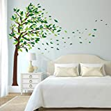 Best Wall Stickers For Bedroom Sofas - decalmile Green Tree Wall Stickers Flying Leaves Wall Review