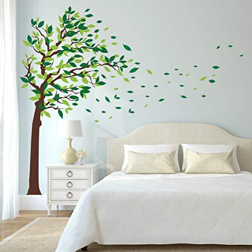 decalmile Adesivi Murali Albero Adesivi Parete Verdi Foglie Casa Hotel Ufficio Soggiorno Camera da Letto Decorazioni Murale (XL, Verde, Destro)