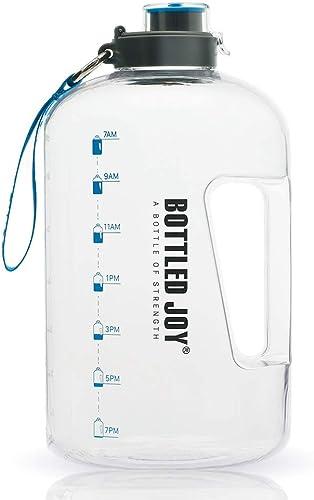 BOTTLED JOY 1 Gallon Water Bottle, BPA Free Large Water Bottle Hydration with Motivational Time Marker Reminder Leak-...