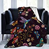 Abucaky Hummingbird Bird Fleece Throw Blanket Ultra Soft Cozy Blooming Flowers Decorative Flannel Blanket All Season for Home Couch Bed Chair Travel 50x40in
