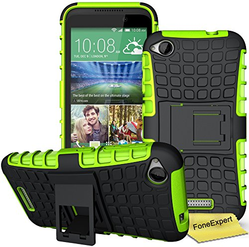 HTC Desire 320 Handy Tasche, FoneExpert® Hülle Abdeckung Cover schutzhülle Tough Strong Rugged Shock Proof Heavy Duty Hülle für HTC Desire 320 + Bildschirmschutzfolie (Grün)