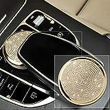 WYZXR Car Styling Diamante Oro Centro Pulsante del Mouse Adesivo per paraurti per Auto Pellicola Protettiva Compatibile Classe C Classe E Classe W213 W205 Accessori Auto