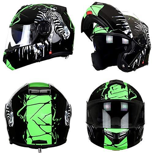 YHDQ Heren Motorhelm, Volledige Helm, Vrouwen Anti-Fog Vier Seizoen Dubbele Lens Dunne Gezichtshelm, Anti-Fog Spiegel, Bluetooth Montage (M.L.XL.XXL) stijlnaam Medium Zebra