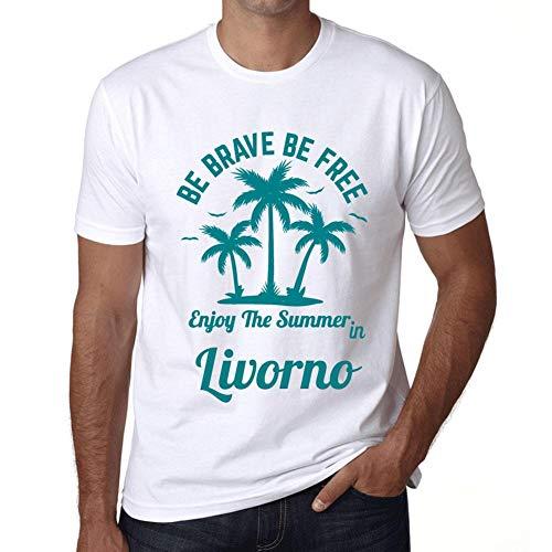 Hombre Camiseta Gráfico T-shirt Be Brave & Free Enjoy the Summer Livorno Blanco
