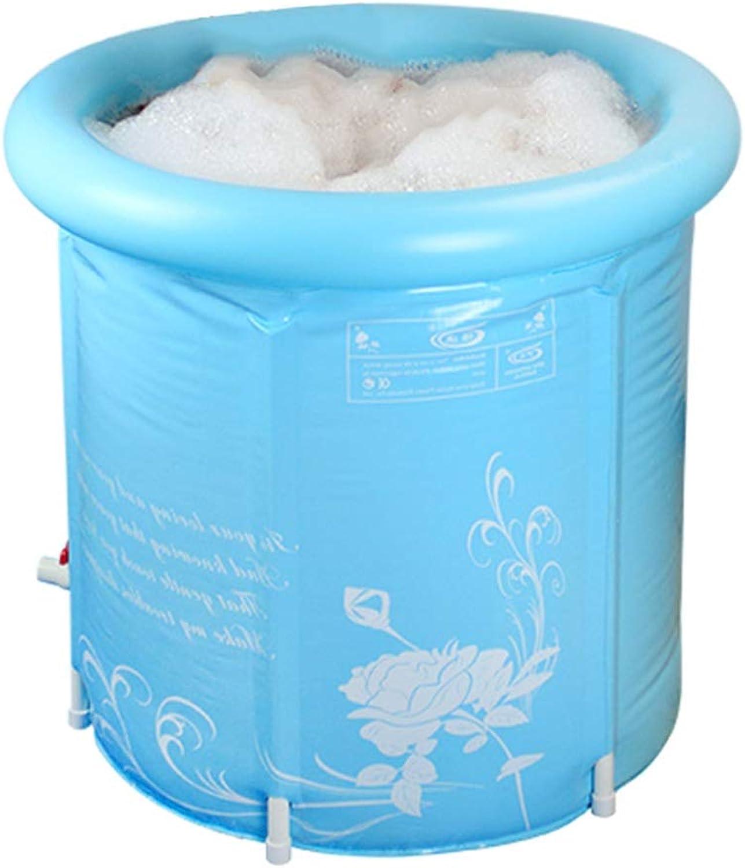 SESO UK-Tub Folding Bathtub Portable Spa Plastic Home Adult Large bath barrel, summer Quality Comfortable Massage kid's Bath Tub with cover (color   bluee, Size   XL)