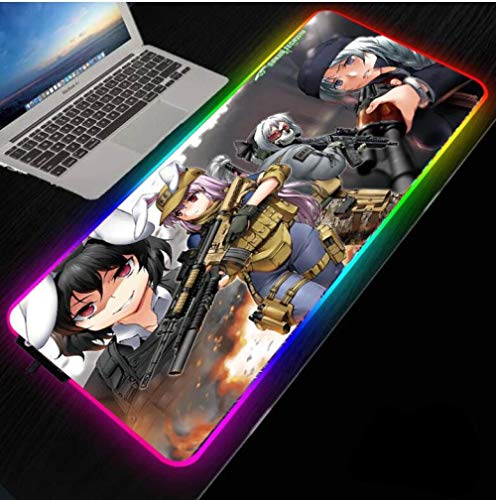 Mouse Pads Anime Girl with Gun RGB Large Gaming Mouse Pad Profession USB Cable Illumination Mousepad Surface with Locking Edge(Size_4)50010004MM