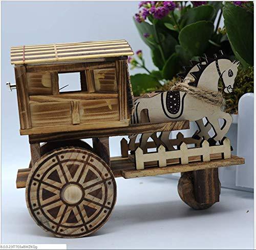 ZGFJST Caja de música Creativa Antigua de Madera del Carro del Caballo de Caballo de la música Caja de música Creativa Adornos de Madera Tamaño: 20.8 * 10 * 16.5 cm